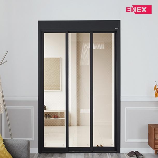 [EHI] 브론즈 인쇄망입 오픈형 슬림도어 3연동 아파트 현관중문 (1,100~1,500)