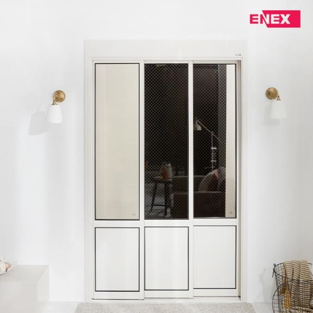 [EHI] 브론즈 인쇄망입유리 고시형 슬림도어 3연동 아파트 현관중문 (1,100~1,500)