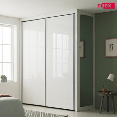 [EW] 로얄 작은방 슬라이딩 붙박이장(화이트 하이그로시)-1430~1550mm